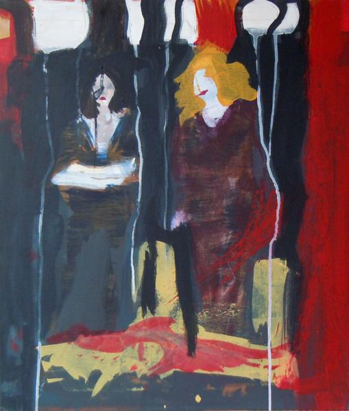 Zwei Frauen - abstrakt - Acrylmalerei