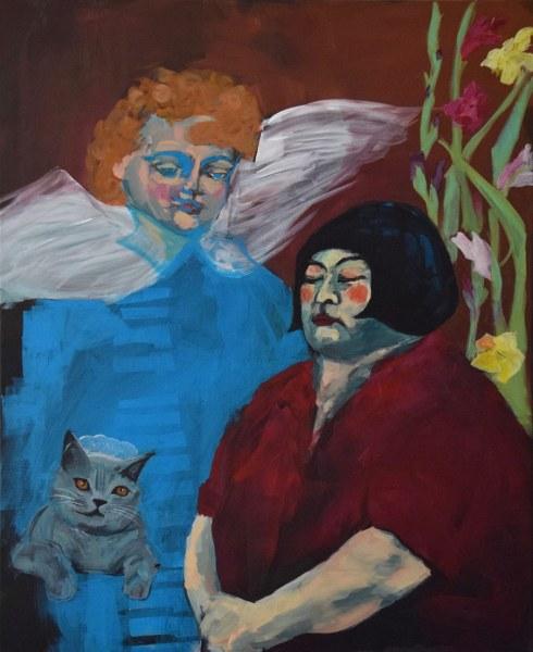 Frau mit Engel und Katze vor Blumen, Acrylmalerei