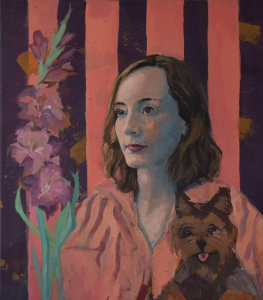 Luisa - Portrait mit Hund und Gladiole