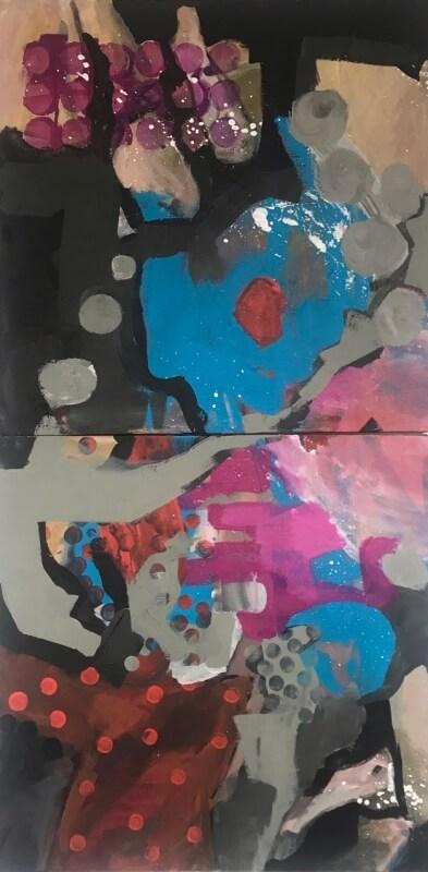Acrylbild abstrakt, Diptichon hochkant