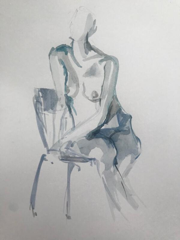 Weiblicher Akt auf Stuhl, Aquarellskizze