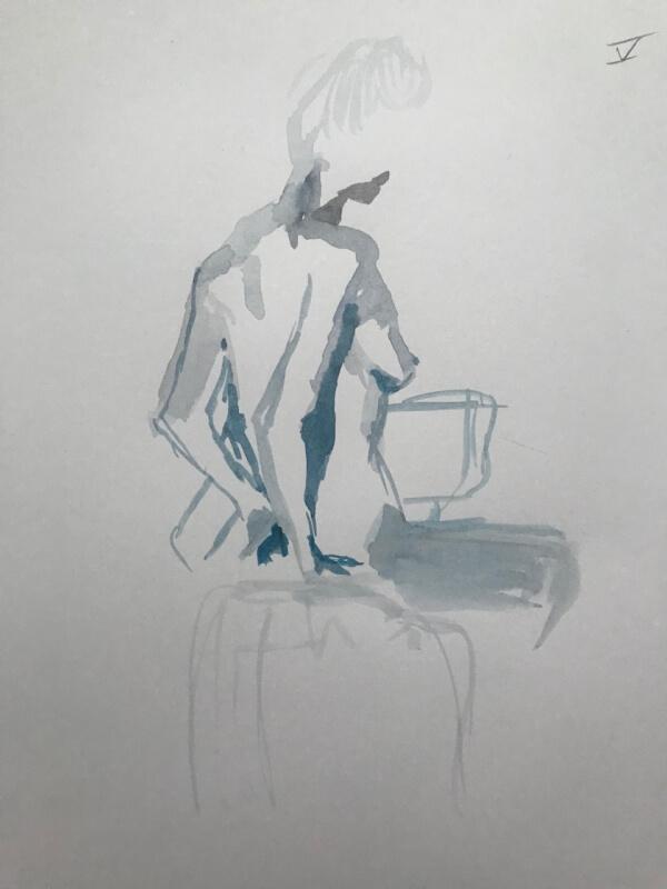 Weiblicher Akt auf Stuhl, Rückenansicht, Aquarellskizze