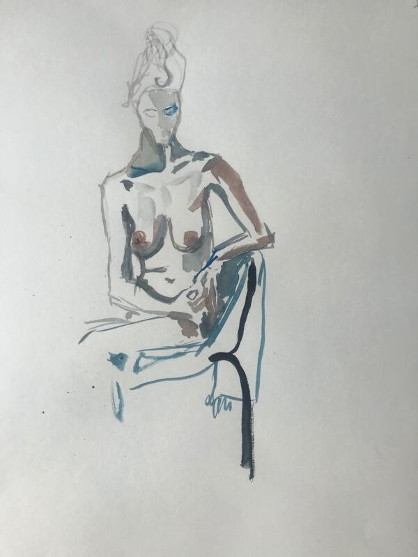 Weiblicher Akt auf Stuhl