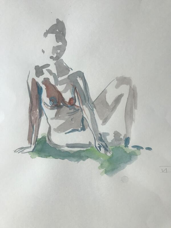 Weiblicher Akt, auf Boden sitzend